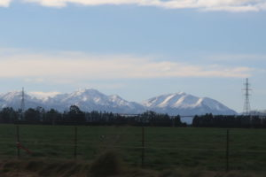 車から見える雪山